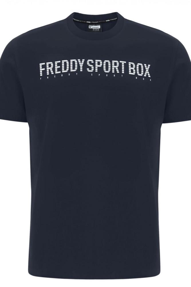 MOŠKA MAJICA V RAVNEM KROJU IN S PRINTOM ''FREDDY SPORT BOX''
