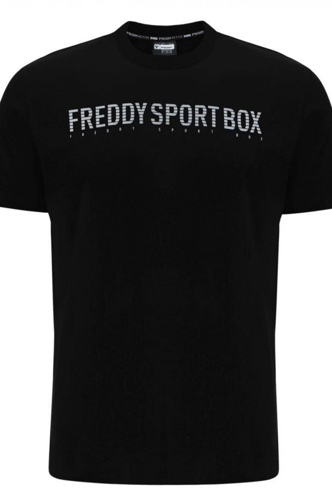 MOŠKA MAJICA V RAVNEM KROJU IN PRINTOM ''FREDDY SPORT BOX''